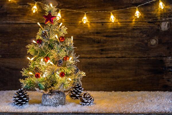 Weihnachtsbeleuchtung auf der Terrasse